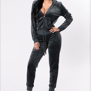 Charcoal gray velour tracksuit
